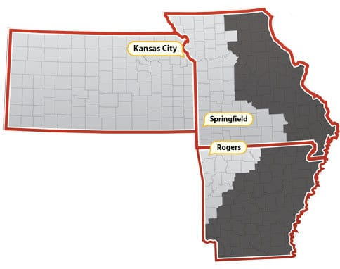 Map of AAP territories including all of Kansas, western Missouri, and northwestern Arkansas